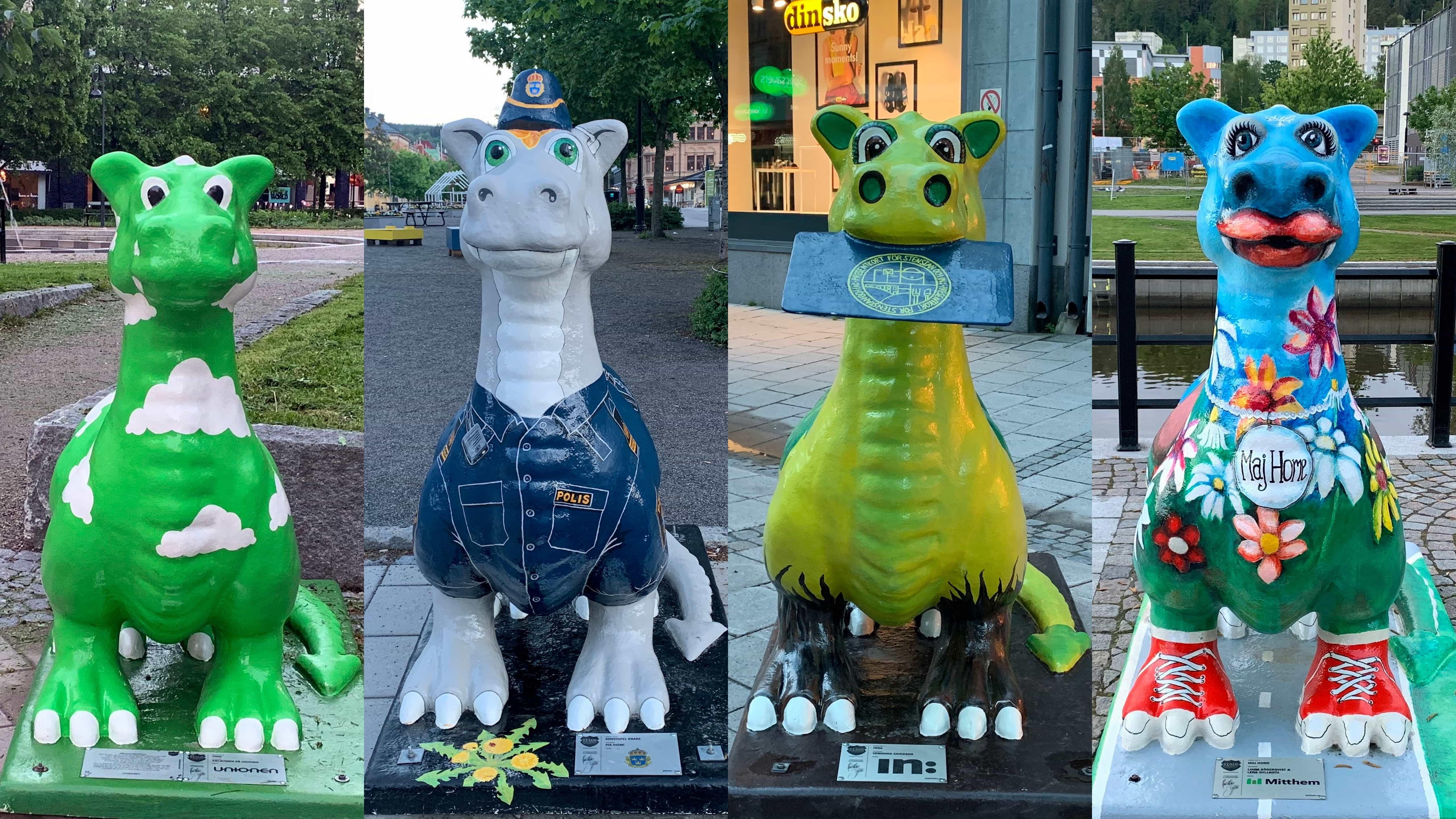 Rund 30 Drachen stehen im Sommerhalbjahr in der Innenstadt von Sundsvall.