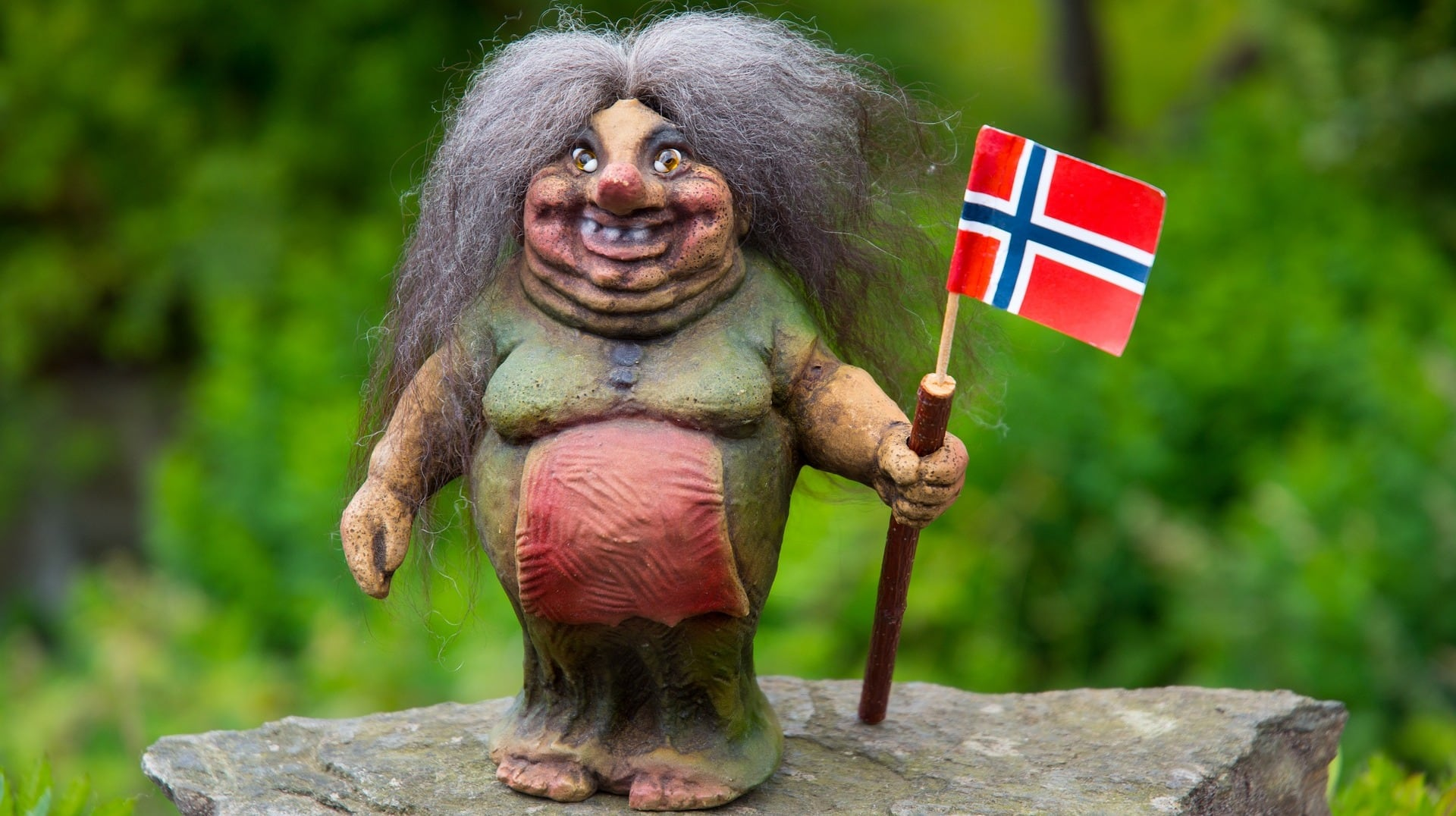 Ein Troll mit norwegischer Flagge
