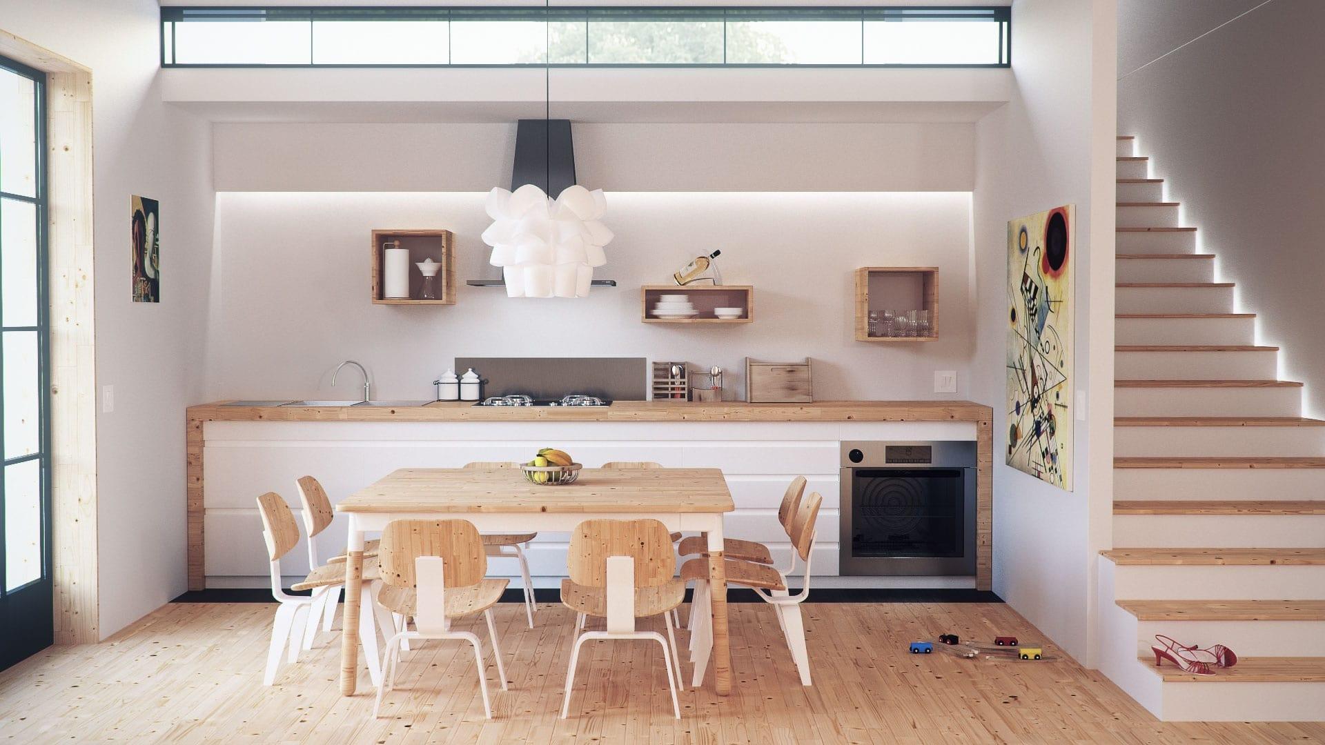 Eine Küche in skandinavischem Design